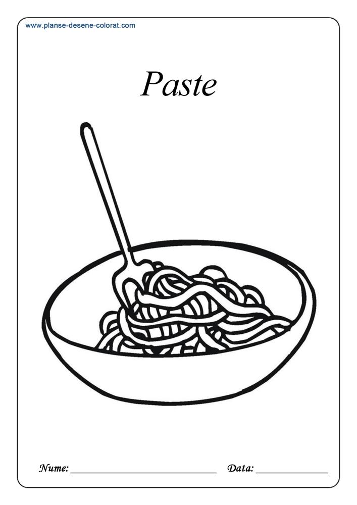 Planse De Colorat Cu Alimente Paste