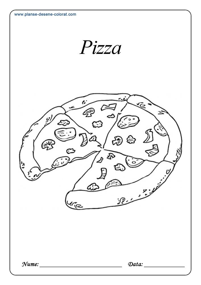 Planse De Colorat Cu Alimente Pizza