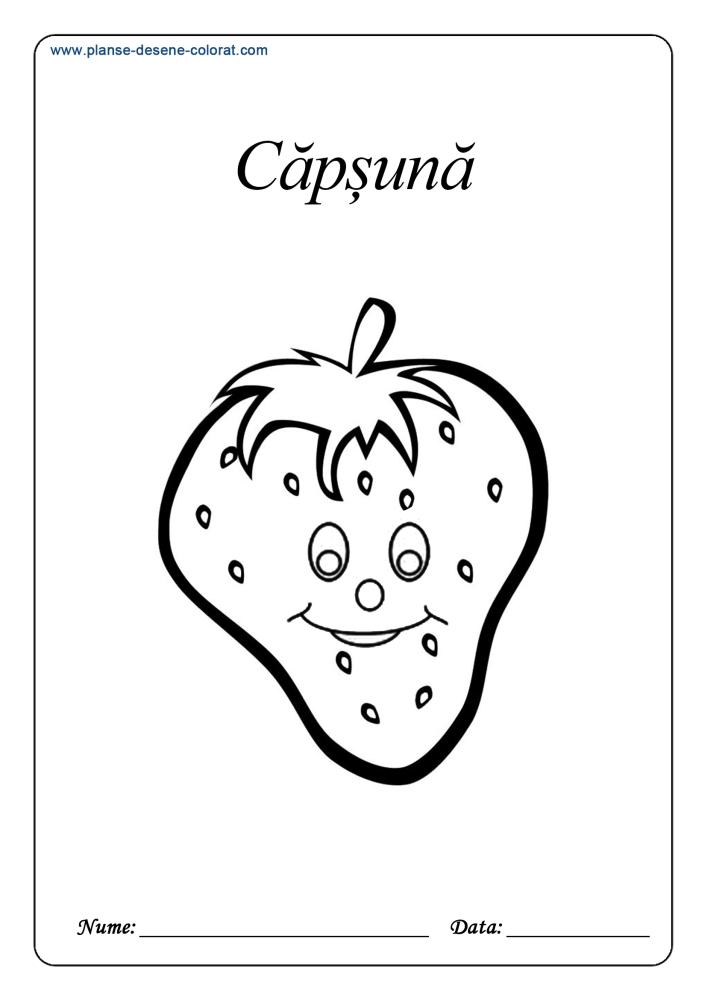 Planse De Colorat Cu Fructe Capsuna