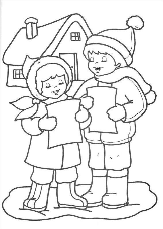 Planse De Colorat Cu Copii Care Merg La Colindat