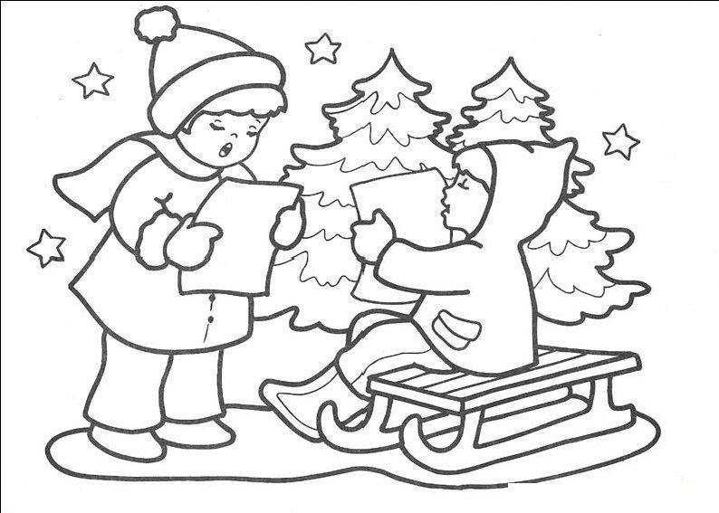 Desene de colorat cu iarna