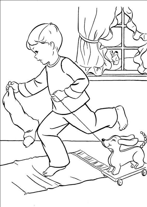 Planse De Colorat Cu Copii Care Se Joaca Iarna
