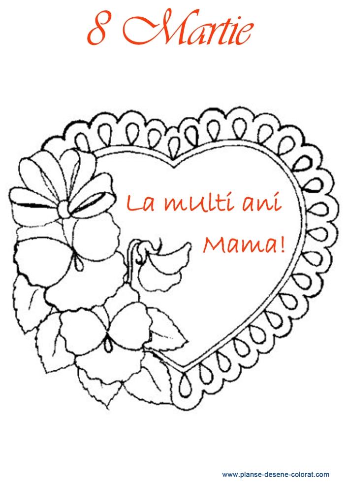 Desene De Colorat De Ziua Mamei Inima Flori