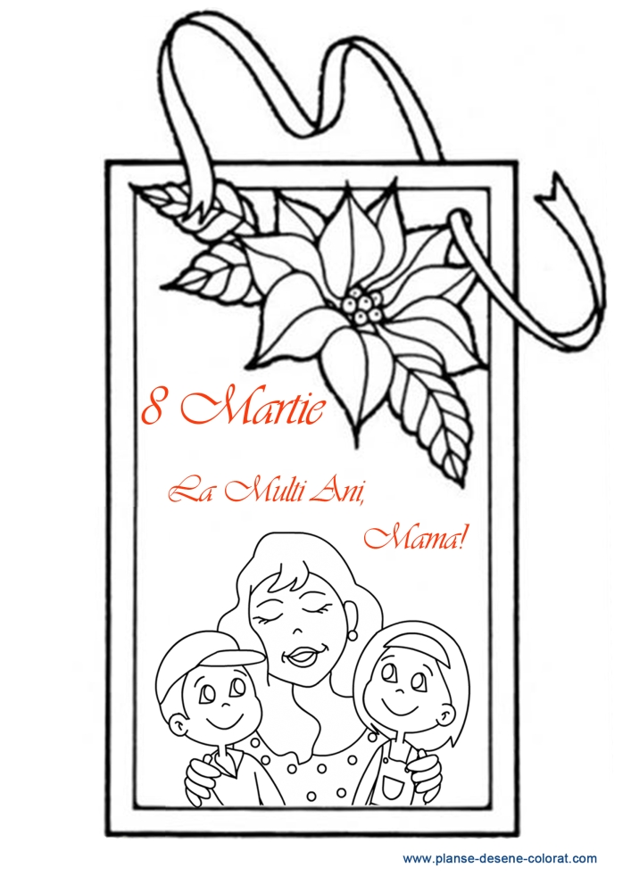 desene de colorat de ziua mamei felicitare