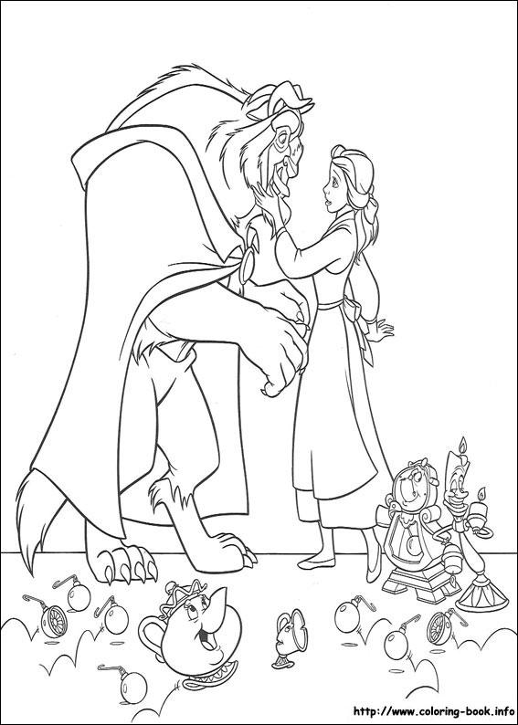 Frumoasa Si Bestia Desene De Printat Si Colorat Pentru Copii