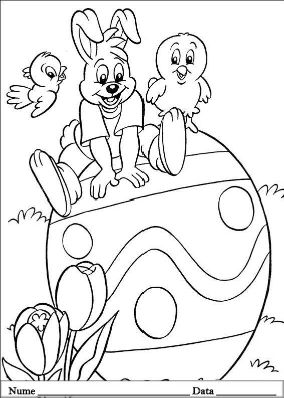 planse desene de colorat cu animale de pasti 13