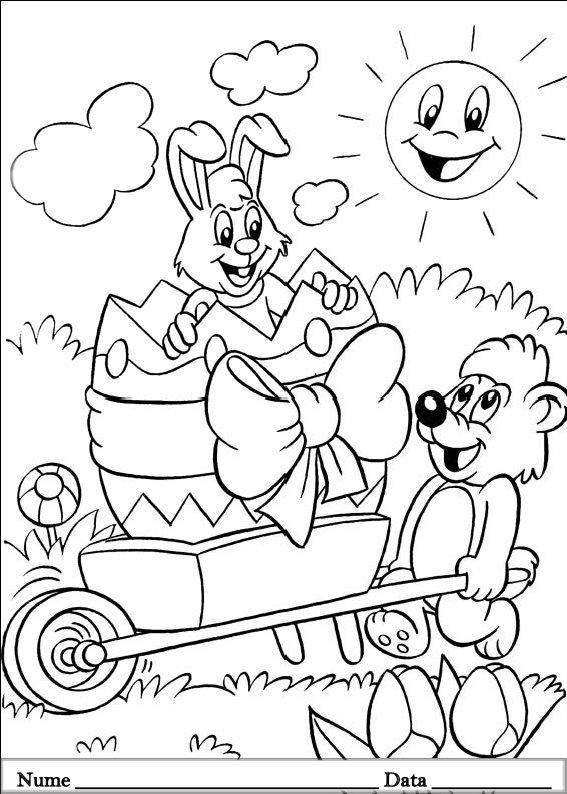 planse desene de colorat cu animale de pasti 14