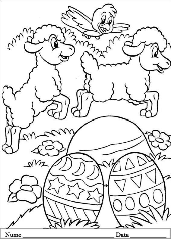 planse desene de colorat cu animale de pasti 16
