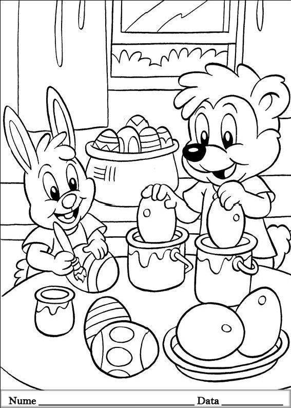 planse desene de colorat cu animale de pasti 17