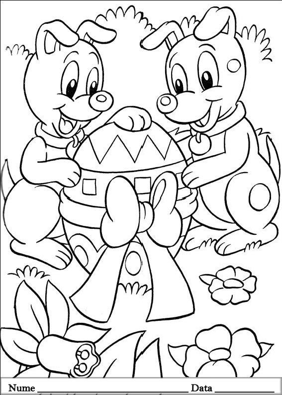 planse desene de colorat cu animale de pasti 3