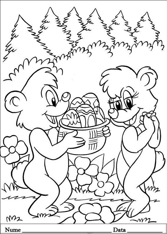 planse desene de colorat cu animale de pasti 4