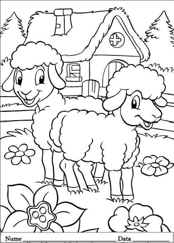 planse desene de colorat cu animale de pasti 5