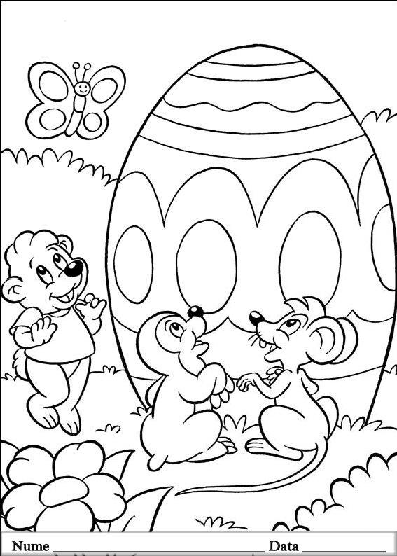 planse desene de colorat cu animale de pasti 7