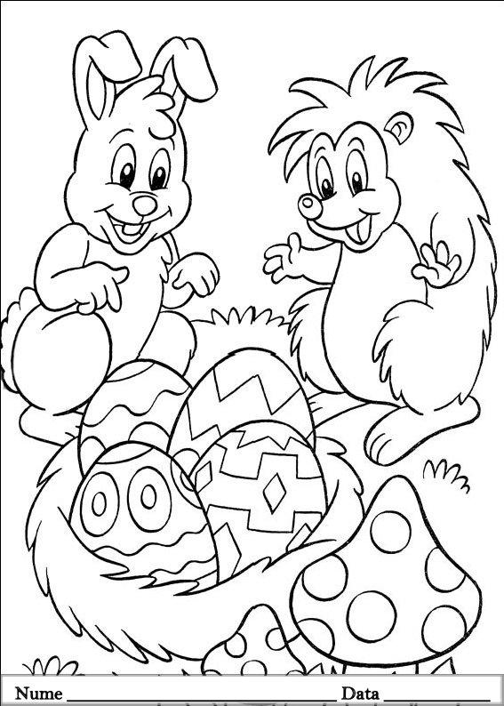 planse desene de colorat cu animale de pasti 8