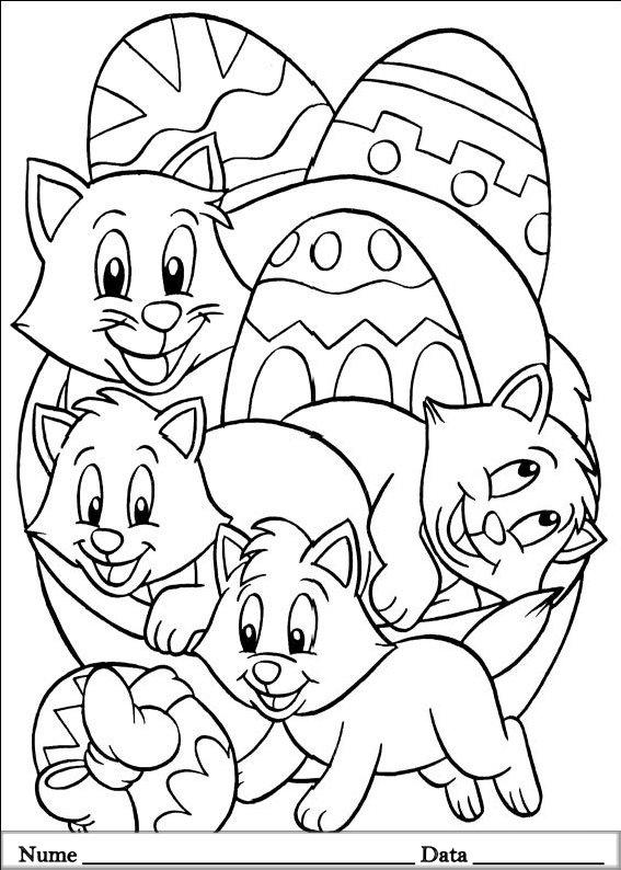 planse desene de colorat cu animale de pasti 9