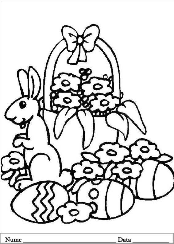 planse desene de colorat cu iepurasi de pasti 1