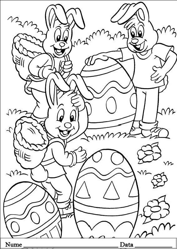 planse desene de colorat cu iepurasi de pasti 13