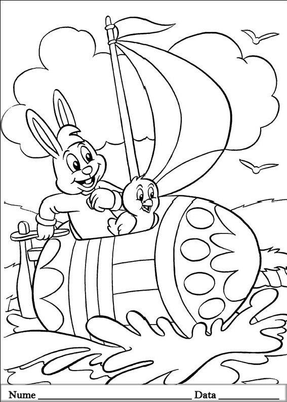 planse desene de colorat cu iepurasi de pasti 14