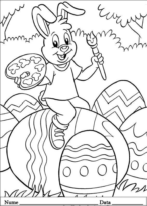 planse desene de colorat cu iepurasi de pasti 16