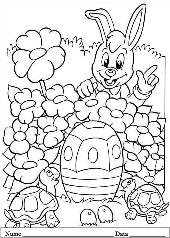 planse desene de colorat cu iepurasi de pasti 17