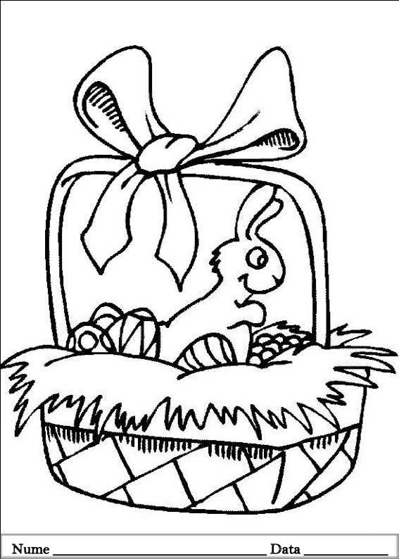 planse desene de colorat cu iepurasi de pasti 4