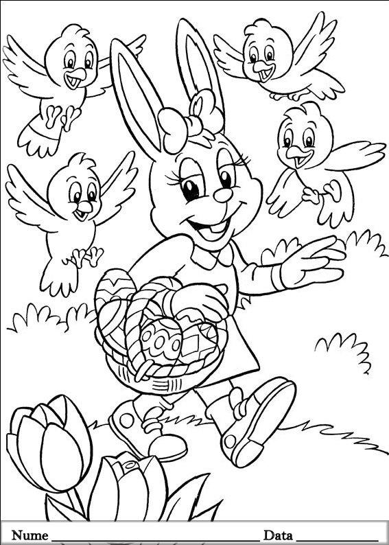 planse desene de colorat cu iepurasi de pasti 9