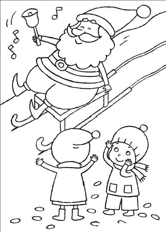 planse desene de colorat cu mos craciun 11
