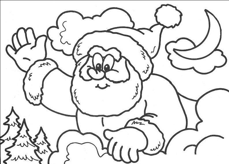 planse desene de colorat cu mos craciun 35