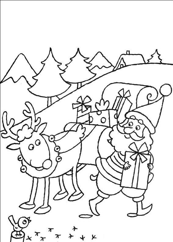 planse desene de colorat cu mos craciun 43