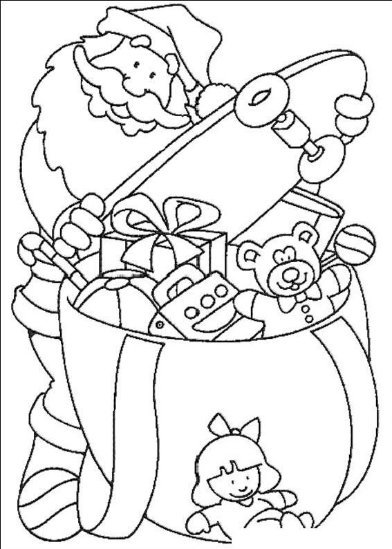 planse desene de colorat cu mos craciun 6