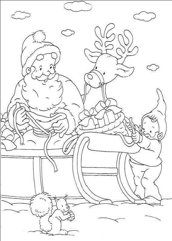 planse desene de colorat cu mos craciun 61