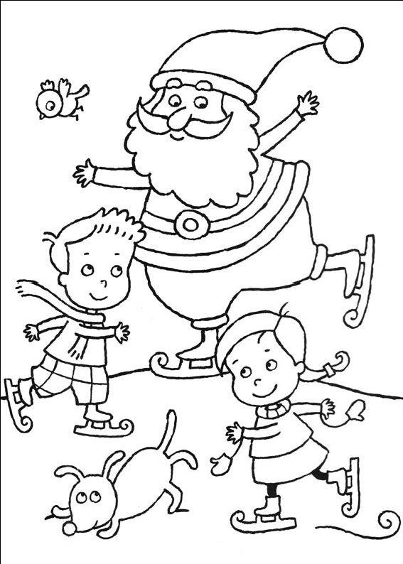 planse desene de colorat cu mos craciun 62