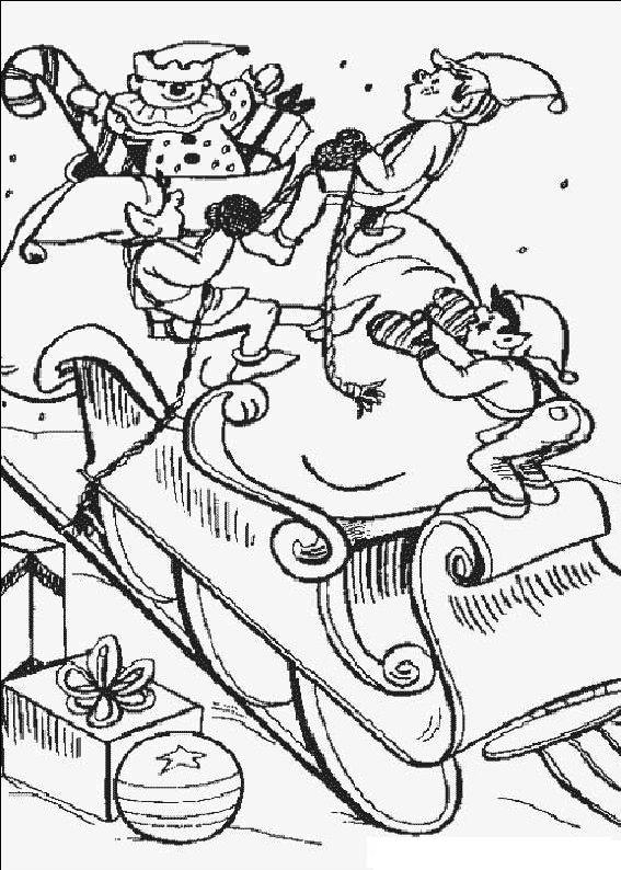 planse desene de colorat cu mos craciun 83