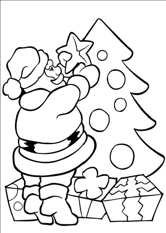 planse desene de colorat cu mos craciun 91
