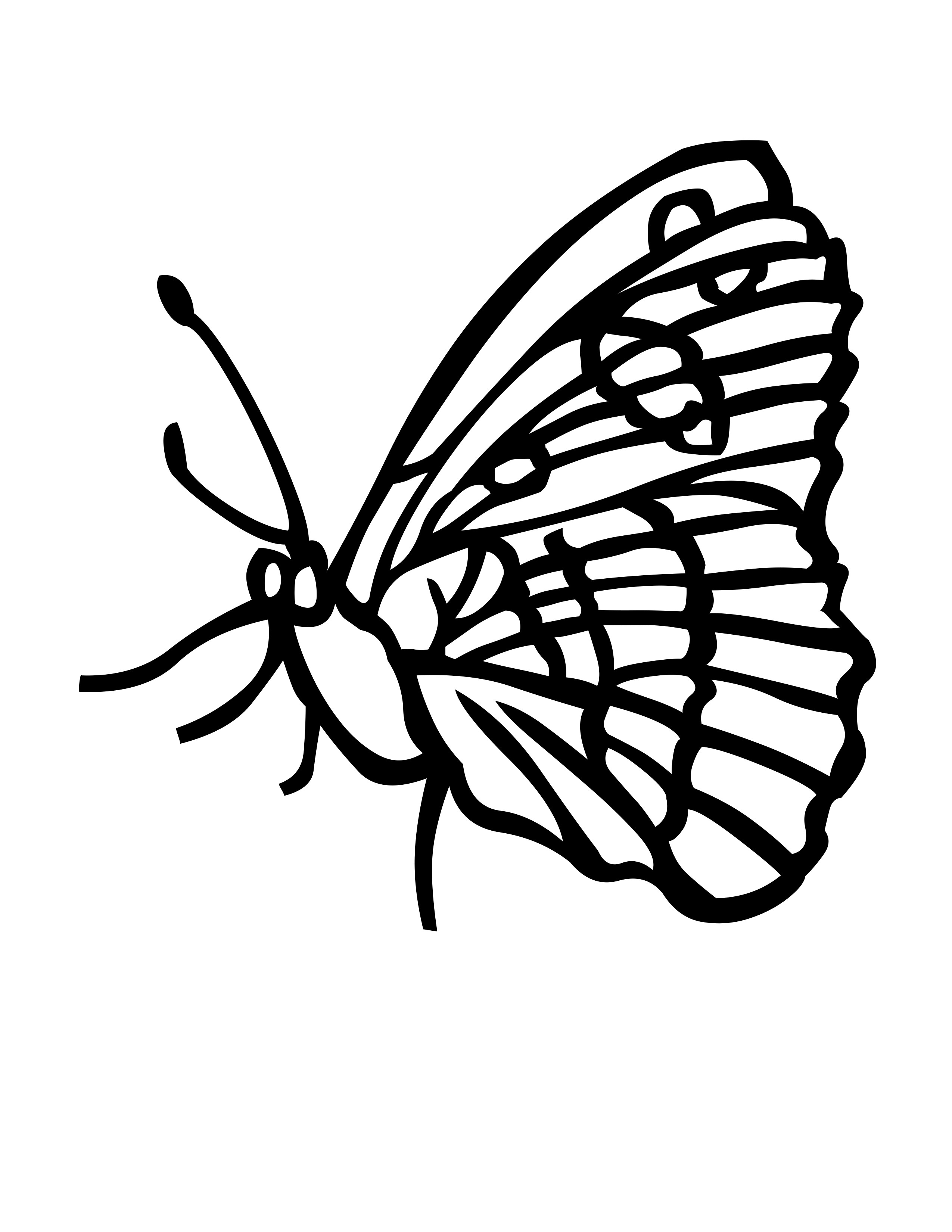 planse desene de colorat fluture 6
