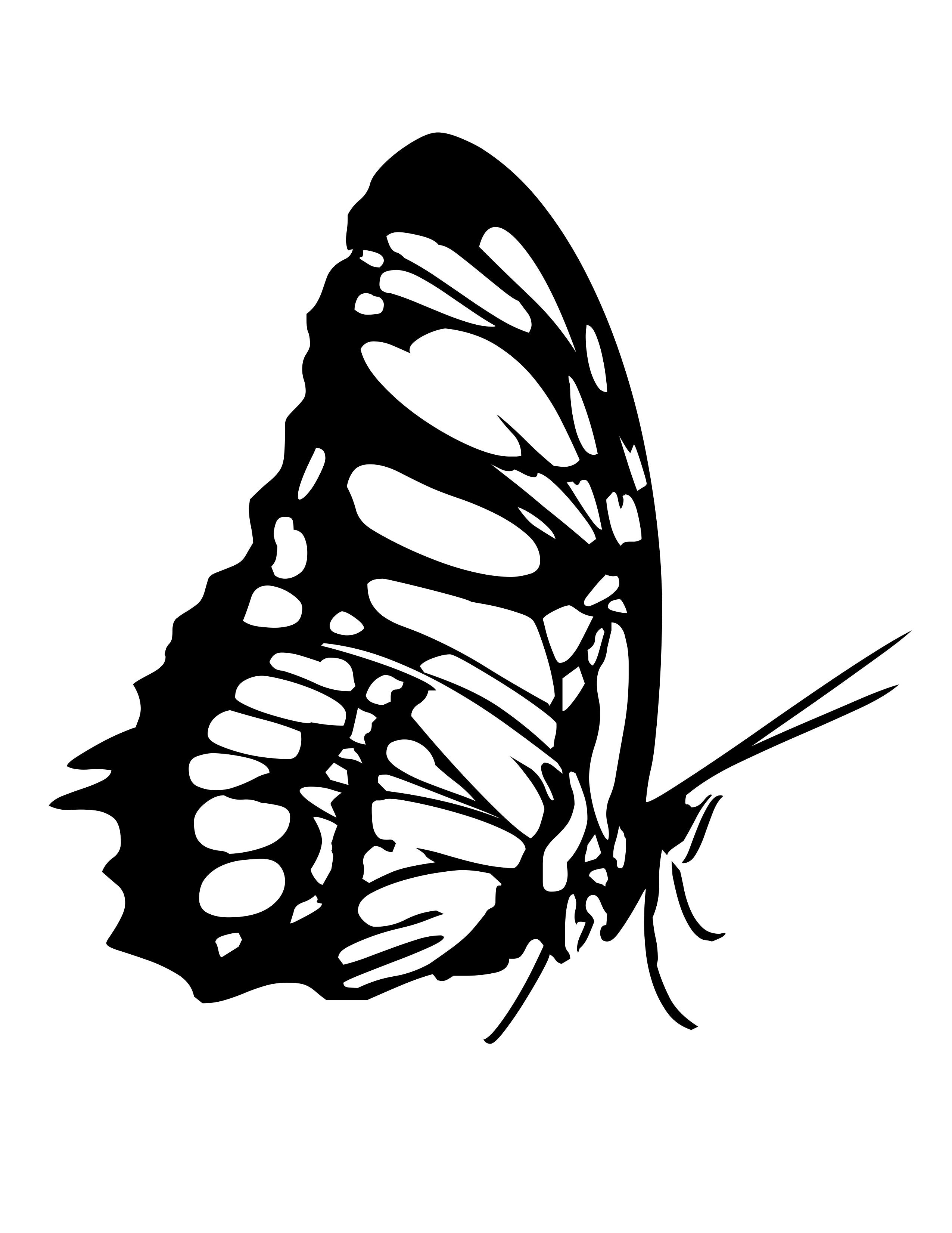 planse desene de colorat fluture 7