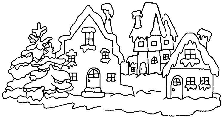 planse desene de colorat iarna 1