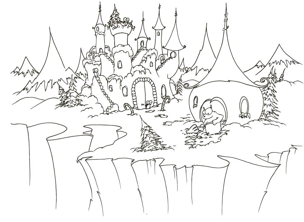 planse desene de colorat iarna 2