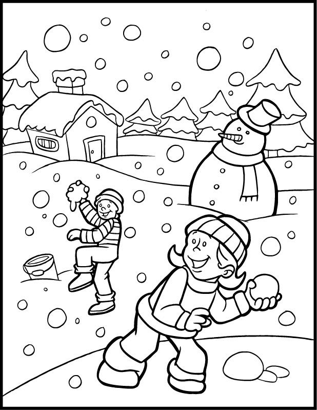 planse desene de colorat iarna 5
