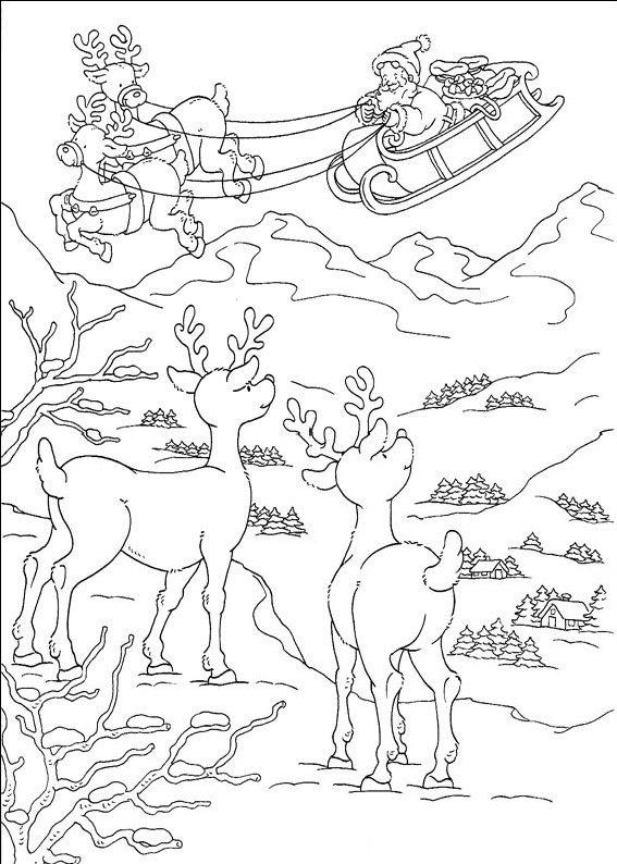 planse desene de colorat peisaj de craciun10