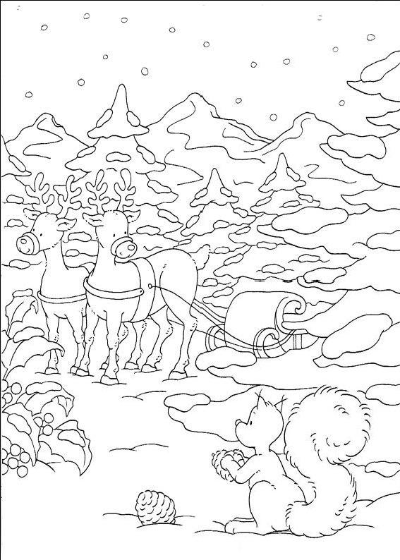 Peisaj de craciun planse de colorat si educative - Dessin paysage de noel ...