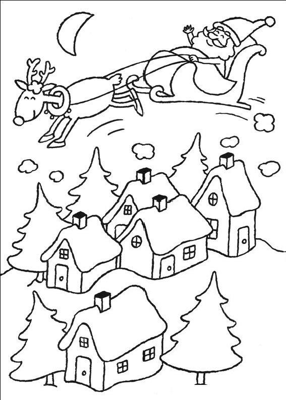 planse desene de colorat peisaj de craciun3