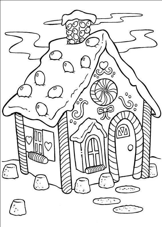 planse desene de colorat peisaj de craciun4