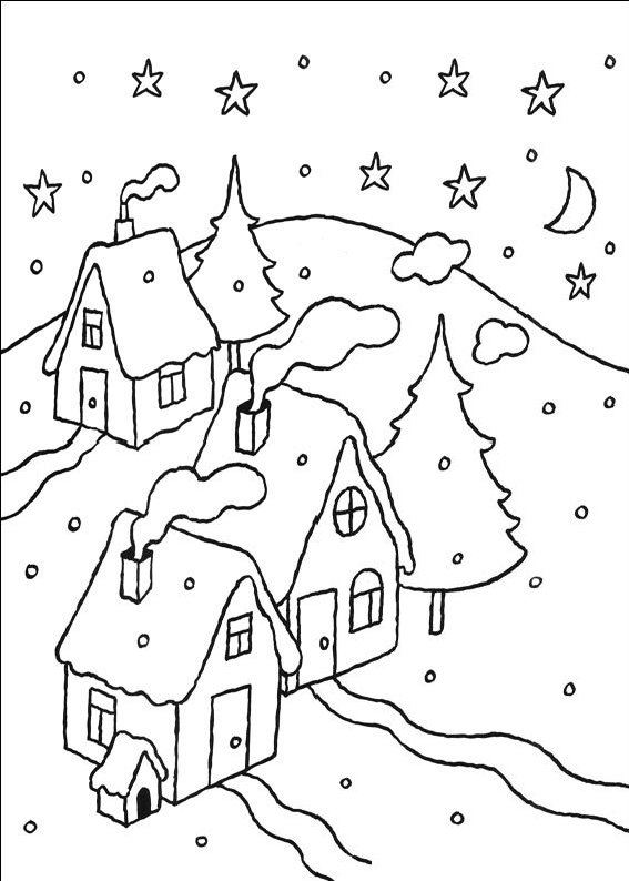 planse desene de colorat peisaj de craciun7