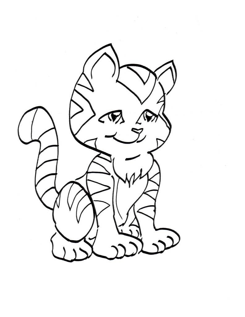 planse desene de colorat pisica 27