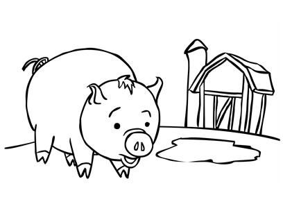 planse desene de colorat porc 12