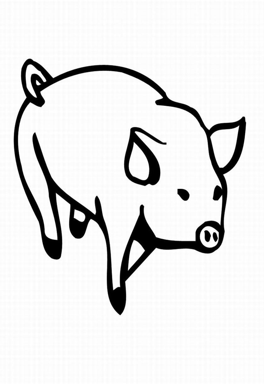 planse desene de colorat porc 8