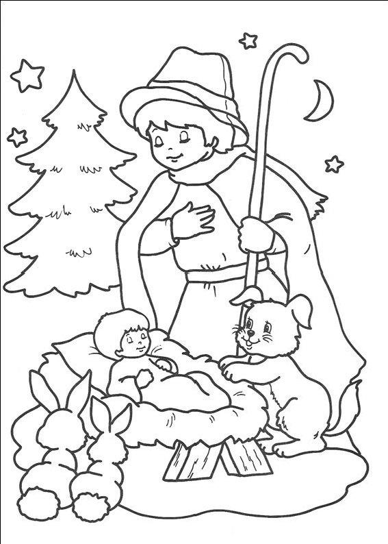 planse desene de colorat religie craciun6